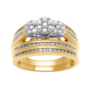 CLOSEOUT! 1½ CT. T.W. Diamond 3-Stone 18K Yellow Gold Over Silver Bridal Set