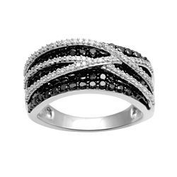 CLOSEOUT! 1 CT. T.W. White and Color-Enhanced Black Diamond Ribbon Ring
