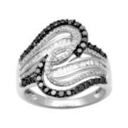 CLOSEOUT! 1 CT. T.W. White and Color-Enhanced Black Diamond Fashion Ring