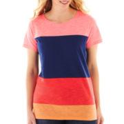 jcp™ Short-Sleeve Colorblock Slub Crewneck Tee - Plus
