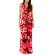 Liz Claiborne Sleeveless Floral Print Maxi Dress