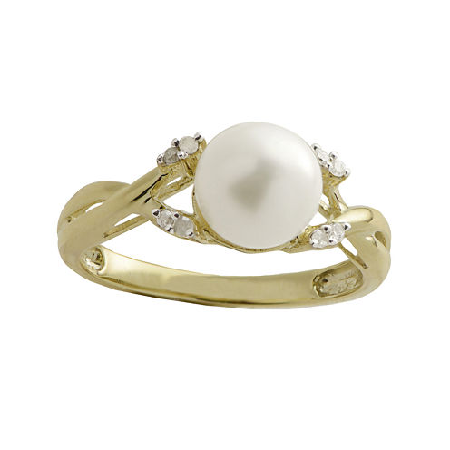 10K Gold Cultured Freshwater Pearl & Diamond-Accent Ring