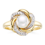 Cultured Freshwater Pearl & White Sapphire 10K Gold Swirl Ring