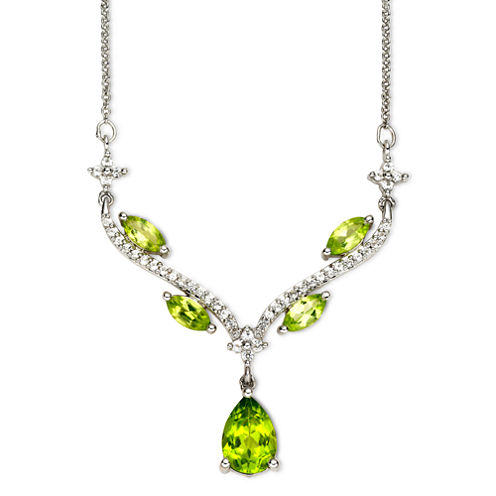 Peridot & Lab-Created White Sapphire Sterling Silver Y Necklace