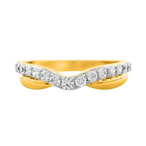 ½ CT. T.W. Diamond 10K Yellow Gold Contoured Anniversary Band