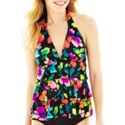 Jamaica Bay® Floral Print 3-Tier Halterkini Swim Top