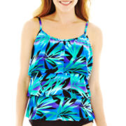 Jamaica Bay® Tropical Print 3-Tier Tankini Swim Top