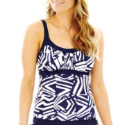 Jamaica  Bay® Tribal Print Framed Peasant Tankini Swim Top