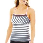 Zero Xposur® Striped Racerback Tankini Swim Top
