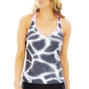 Zero Xposur® Tie-Dyed Print Racerback Tankini Swim Top