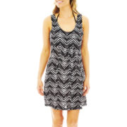 Porto Cruz® Print Deep Pocket Cover-Up Dress