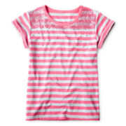 Arizona Sequin & Striped Short-Sleeve Tee - Girls 6-16 and Plus