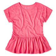 Arizona Embroidered Peplum Short-Sleeve Top - Girls 6-16