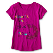 Arizona Graphic Solid Short-Sleeve Tee - Girls 6-16 and Plus