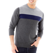Claiborne® Colorblock Cotton-Cashmere Sweater