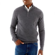 Claiborne® Jacquard-Stitch Quarter-Zip Sweater