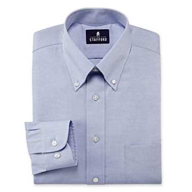 Stafford performance pinpoint oxford dress shirt with for Pinpoint button down dress shirt