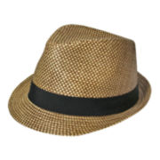 St. John's Bay® Checker Plaid Straw Fedora