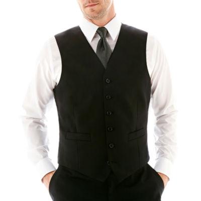 Stafford® Executive Super 100 Wool Black Stripe Black Stripe Suit Vest - Classic