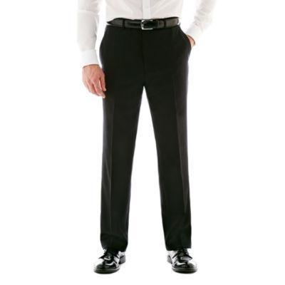 Stafford® Executive Super 100 Wool Black Stripe Flat-Front Suit Pants - Classic