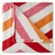JCPenney Home™ Velvet Plush Chevron Print Throw