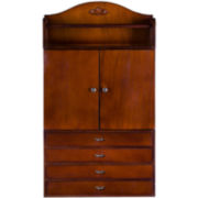 Cherry-Finished Wall-Mounted Jewelry Armoire