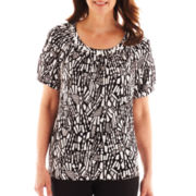 Alfred Dunner® St. Barth's Tonal Print Knit Top