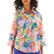 Alfred Dunner® St. Tropez 3/4-Sleeve Tropical Leaf-Print Shirt