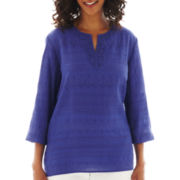 Alfred Dunner® St. Tropez 3/4-Sleeve Lace-Yoke Tunic Top