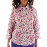 Alfred Dunner® St. Tropez 3/4-Sleeve Millefleur Floral Shirt