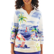 Alfred Dunner® St. Tropez 3/4-Sleeve Scenic Beach Top