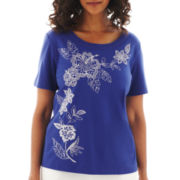 Alfred Dunner® St. Tropez Short-Sleeve Asymmetrical Floral-Embroidered Top