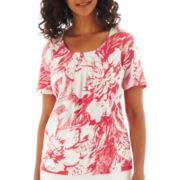 Alfred Dunner® St. Tropez Short-Sleeve Monotone Floral Printed Top