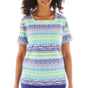 Alfred Dunner® St. Tropez Short-Sleeve Biadere Knit Top