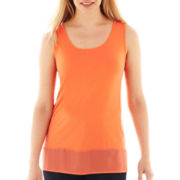 By Artisan Asymmetrical Chiffon Trim Tank Top