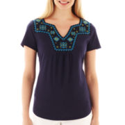 St. John's Bay® Short-Sleeve Cross-Stitch Top