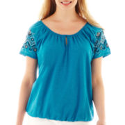 St. John's Bay® Beaded Short-Sleeve Top