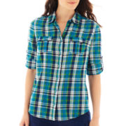 St. John's Bay® Button-Up Gauze Campshirt - Petite