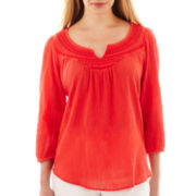 St. John's Bay® 3/4-Sleeve Embroidered-Yoke Peasant Top
