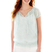 Liz Claiborne® Short-Sleeve Pebble Dot Popover Blouse with Cami - Tall