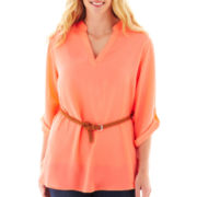 3/4-Sleeve Belted Tunic - Plus
