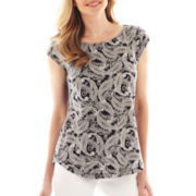 Liz Claiborne Cap-Sleeve Paisley Button-Shoulder Tee