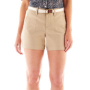 St. John's Bay Belted Twill Shorts