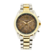 Womens Black Dial Two-Tone Bracelet Watch