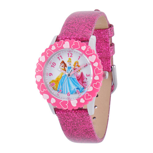 Disney Princess Kids Time Teacher Glitter Pink Leather Strap Watch