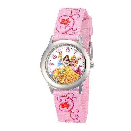 Disney Princess Kids Time Teacher Pink Fabric Strap Watch