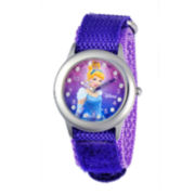 Disney Cinderella Kids Time Teacher Glitz Purple Nylon Fast Strap Watch