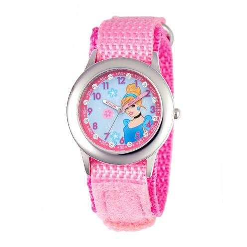Disney Cinderella Kids Time Teacher Glitz Pink Nylon Fast Strap Watch
