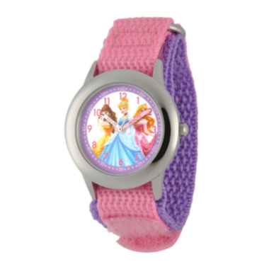 jcpenney.com | Disney Princess Kids Time Teacher Pink Nylon Fast Strap Watch