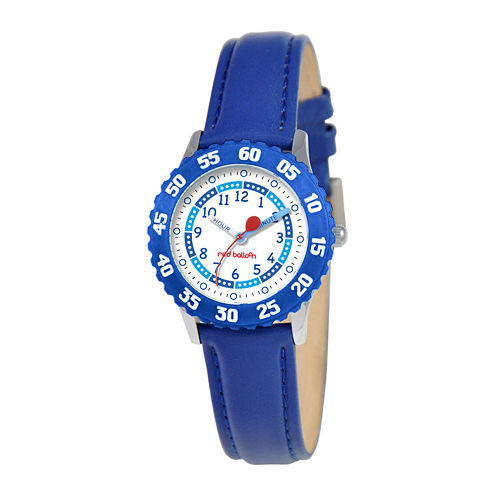 Red Balloon Kids Time Teacher Blue Leather Strap Watch